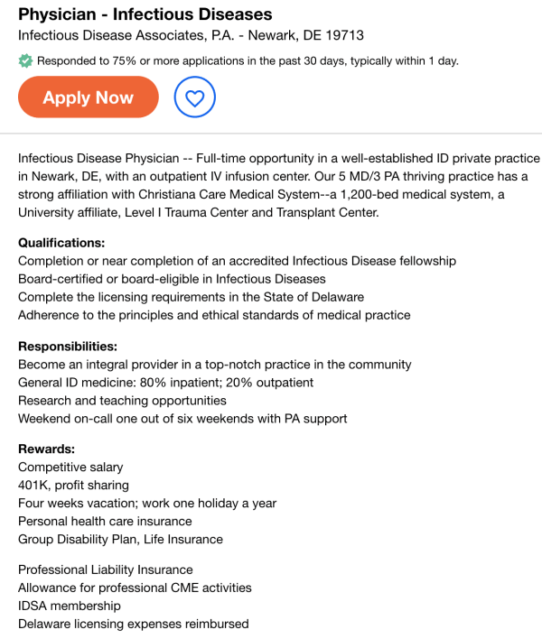 infectious diseases job opening