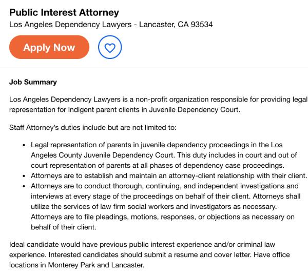 public interest attorney job opening