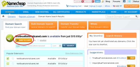 cara daftar domain di namecheap add to cart picture
