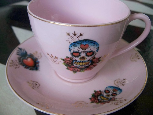 Day of the Dead glazed teacup