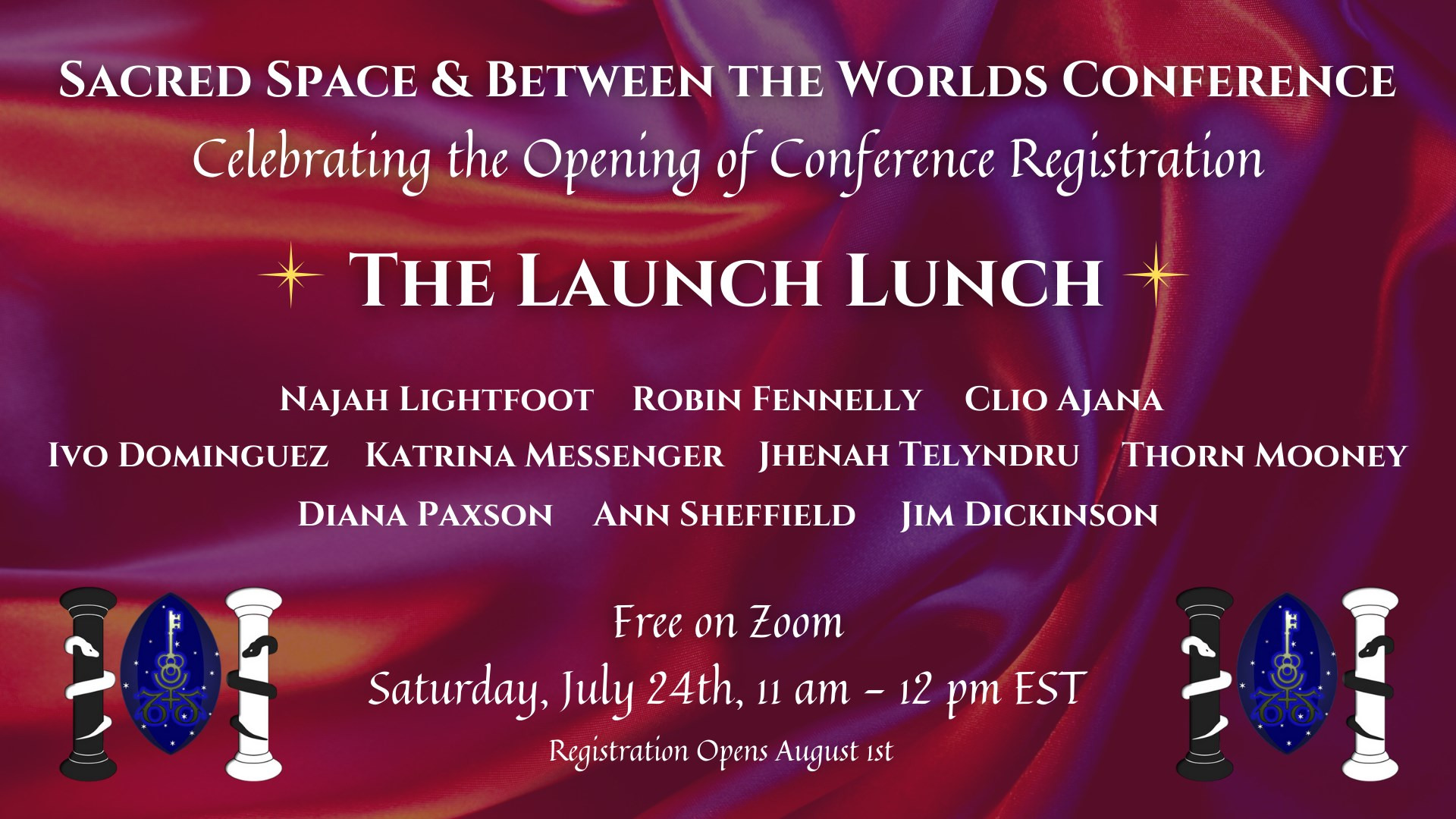 Launch Lunch! Event by Sacred Space Conference, Assembly of the Sacred Wheel and Ivo Dominguez Jr. Online: us02web.zoom.us Public · Anyone on or off Facebook Join a gathering of Sacred Space/Between The Worlds Conference presenters and board members for a celebration of the opening of registration for our 2022 joint conference! Current guests include Najah Lightfoot, Robin Fennelly, Clio Ajana, Ivo Dominguez, Katrina Messenger, Jhenah Telyndru, Thorn Mooney, Diana Paxson, Ann Sheffield and Jim Dickinson! Our guests will be talking about what they're presenting at the conference, what they love about it, and why you should plan to attend. Join us for a relaxed Zoom gathering where questions are welcome and friendly faces abound.
