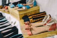Risque Designs creates footwear incorporating handwoven Hablon textiles from Iloilo and wooden carvings from Paete