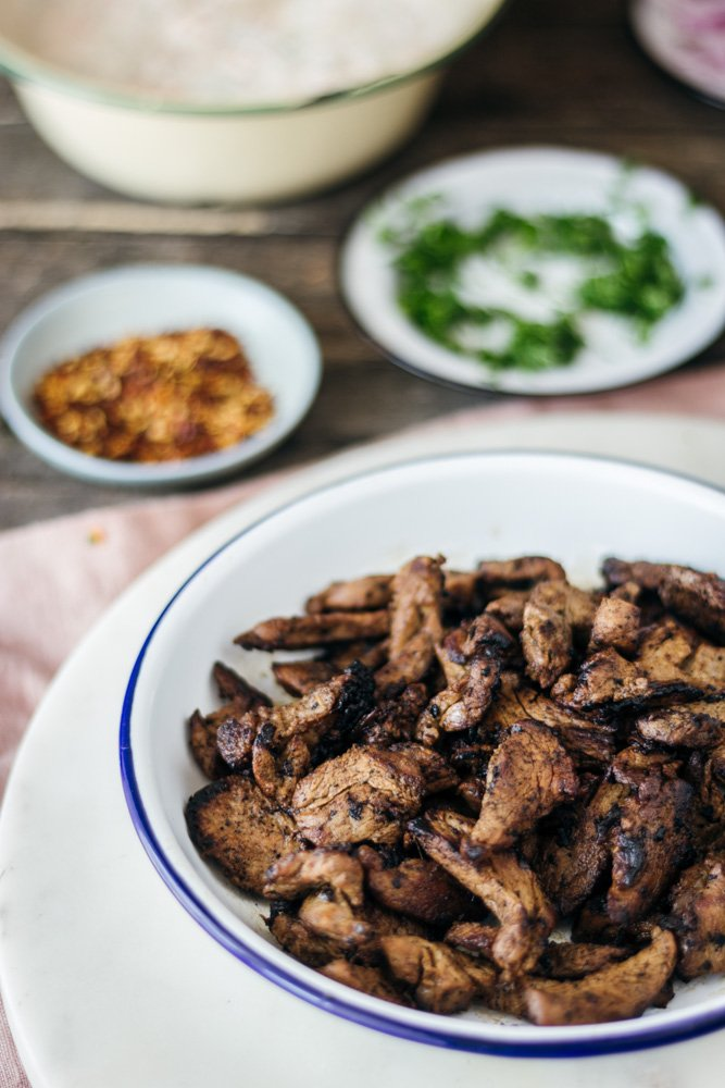 Greek pork gyro with carrot sauce