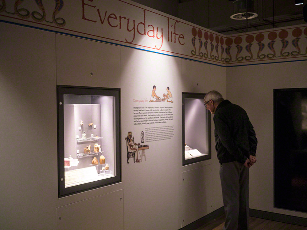 A man standing and looking in a display case