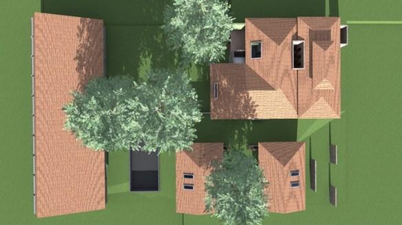 Vista aérea e implantação geral - casa principal acima à direita e Villa embaixo à direita