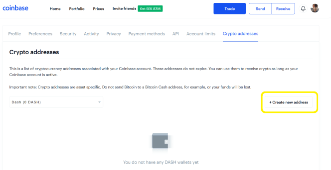 Add address in Coinbase