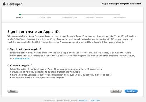 Sign in or create an Apple ID  Apple Developer Program Enrollment