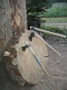 Tomahawk and knife throwing is a fun activity to enjoy on this wagon train vacation.