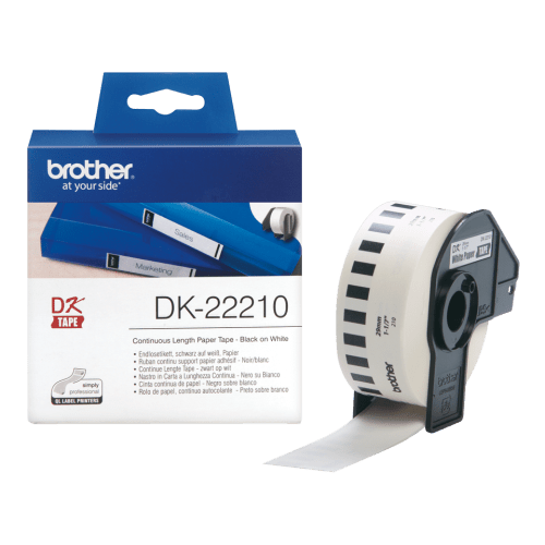 Brother DK-22210 Black on White tape