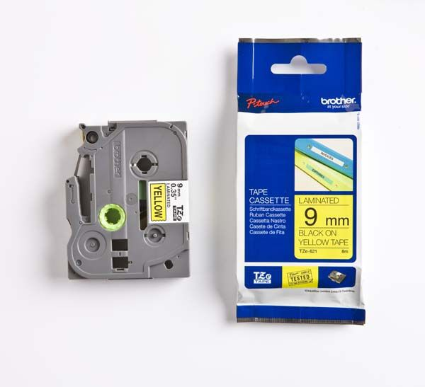 Brother TZE-621 9mm Gloss Black on Yellow Label Printer tape