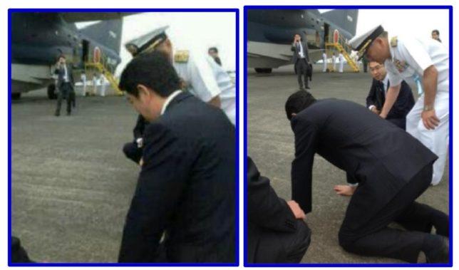 硫黄島の空港で説明を受ける安倍首相