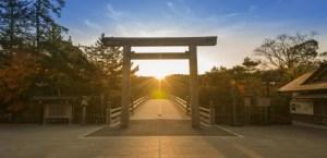 伊勢神宮 宇治橋からの日の出