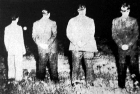 Η εκτέλεση. Από αριστερά: Μπάτσης, Μπελογιάννης, Αργυριάδης, Καλούμενος.