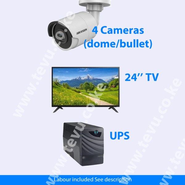 4 CCTV Cameras Package, 1080p Hikvision/Dahua Dome/Bullet (Installation included)
