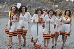 European tourists show off their Ethiopian traditional dress