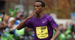Ethiopian runner Alemu Gemechu wins the Dublin City Marathon
