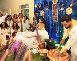 Mekdes Tsegaye and Solomon Menjeta host traditional Ethiopian coffee ceremony