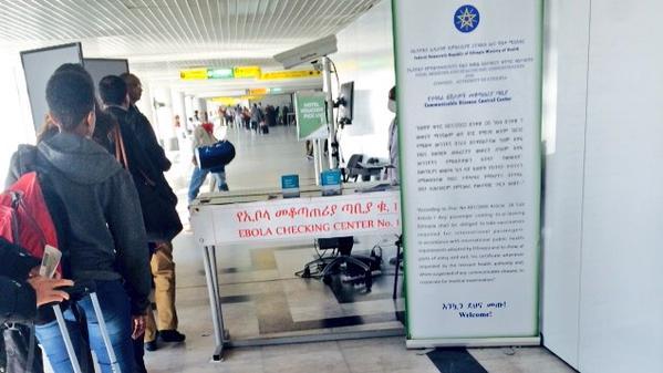 Checking for Ebola, arrival gate at the Bole International Airport, Addis Ababa, Ethiopia – Dec. 2014