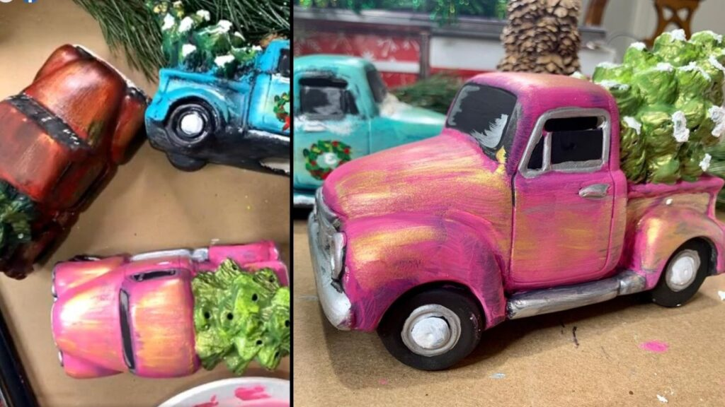 Winter art idea: paint a ceramic vintage truck with Christmas tree in its bed