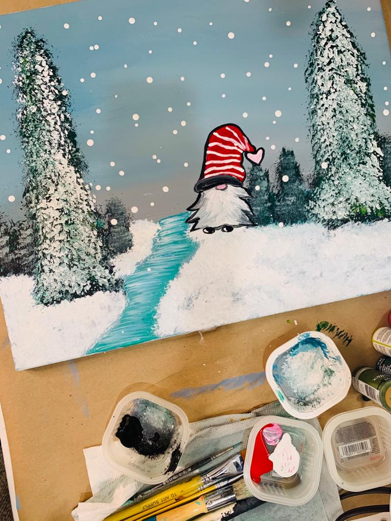 Winter art painting project with gnome, trees and river