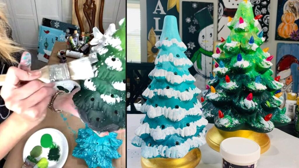 Ceramic Christmas trees for a Winter Art paint party.