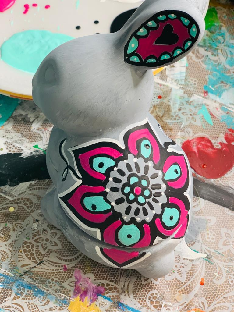 Cute ceramic bunny perfect for springtime Paint Parties! I decorated mine with ArtDeco paints in Sea Breeze and Royal Fuchsia.