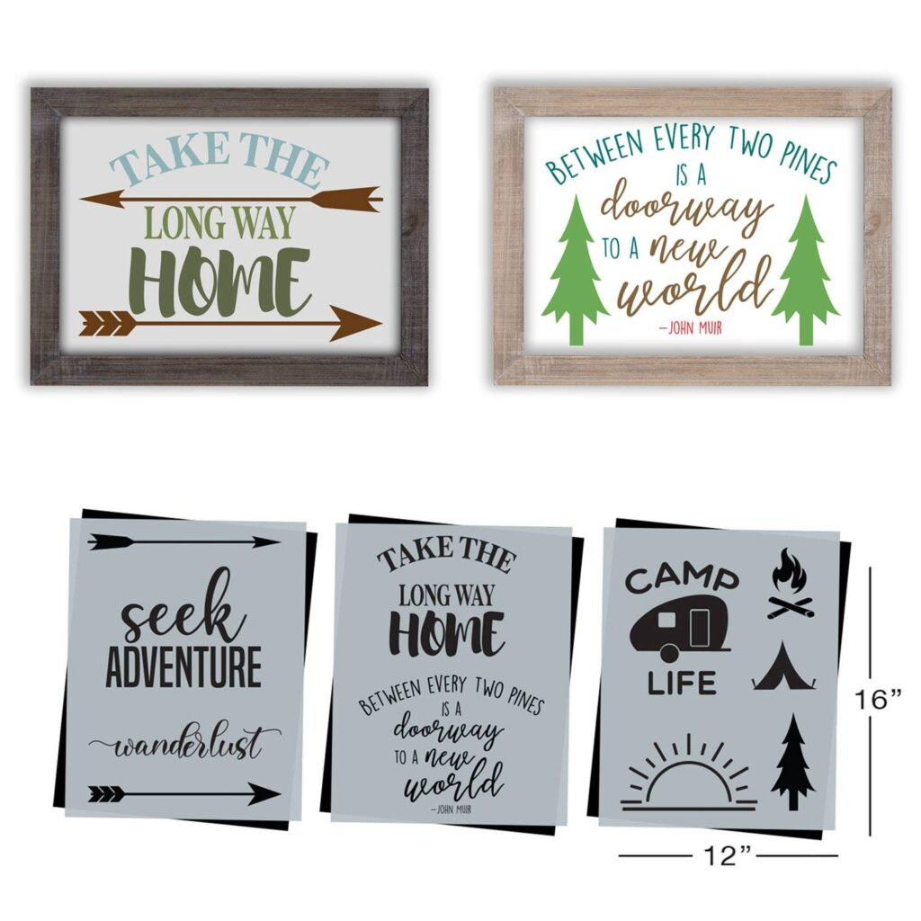 Here's my Essential Stencils Adventure and Camping stencil set, featured as the July Stencil of the Month!