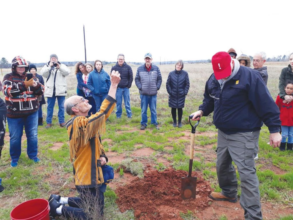 blessing over a planting project at Caddo Mounds State Historic Mound