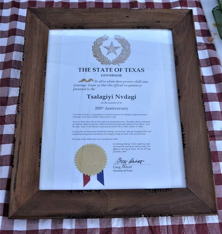 Tsalagiyi Nvdagi Tribe Official Texas State Recognition document
