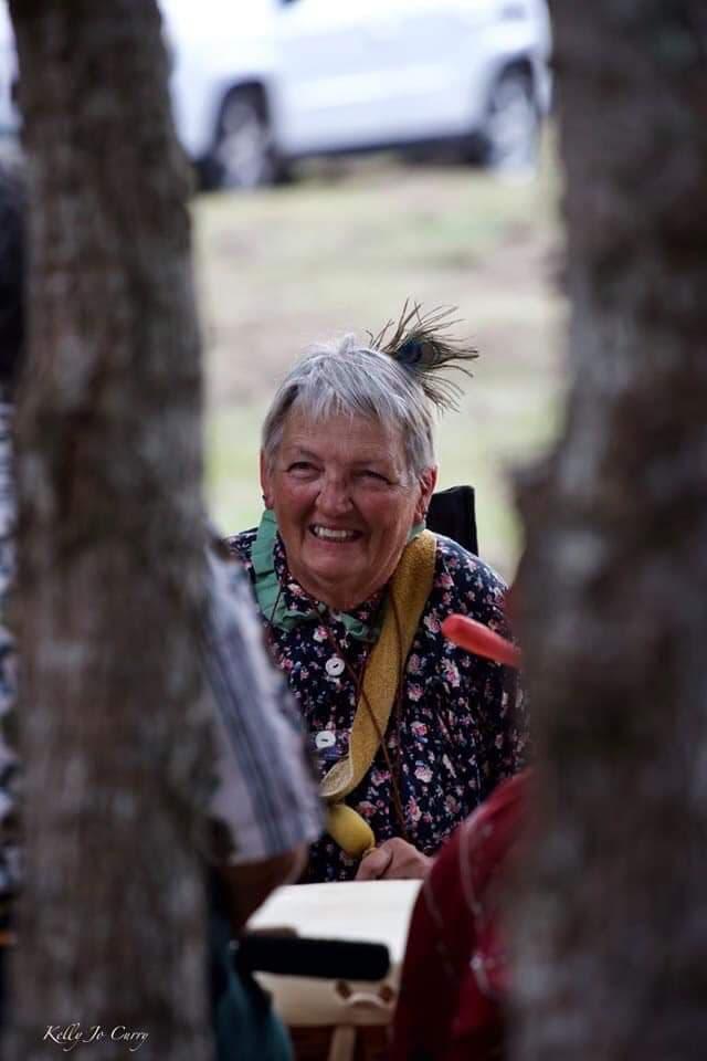 Tsalagiyi Nvdagi Tribal Ani Awi Deer Clan mother Janice Hall at the women's drum