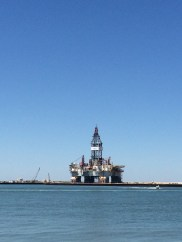 Oil rig temporarily stored near ferry landing in Port Aransas.