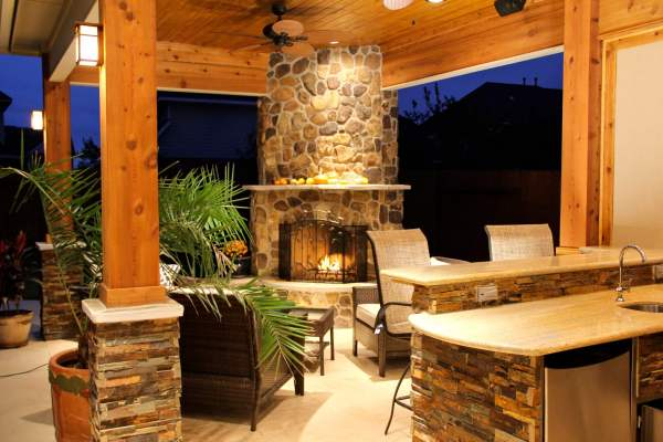 outdoor kitchen covered patio Patio Cover With Fireplace & Kitchen In Firethorne - Texas