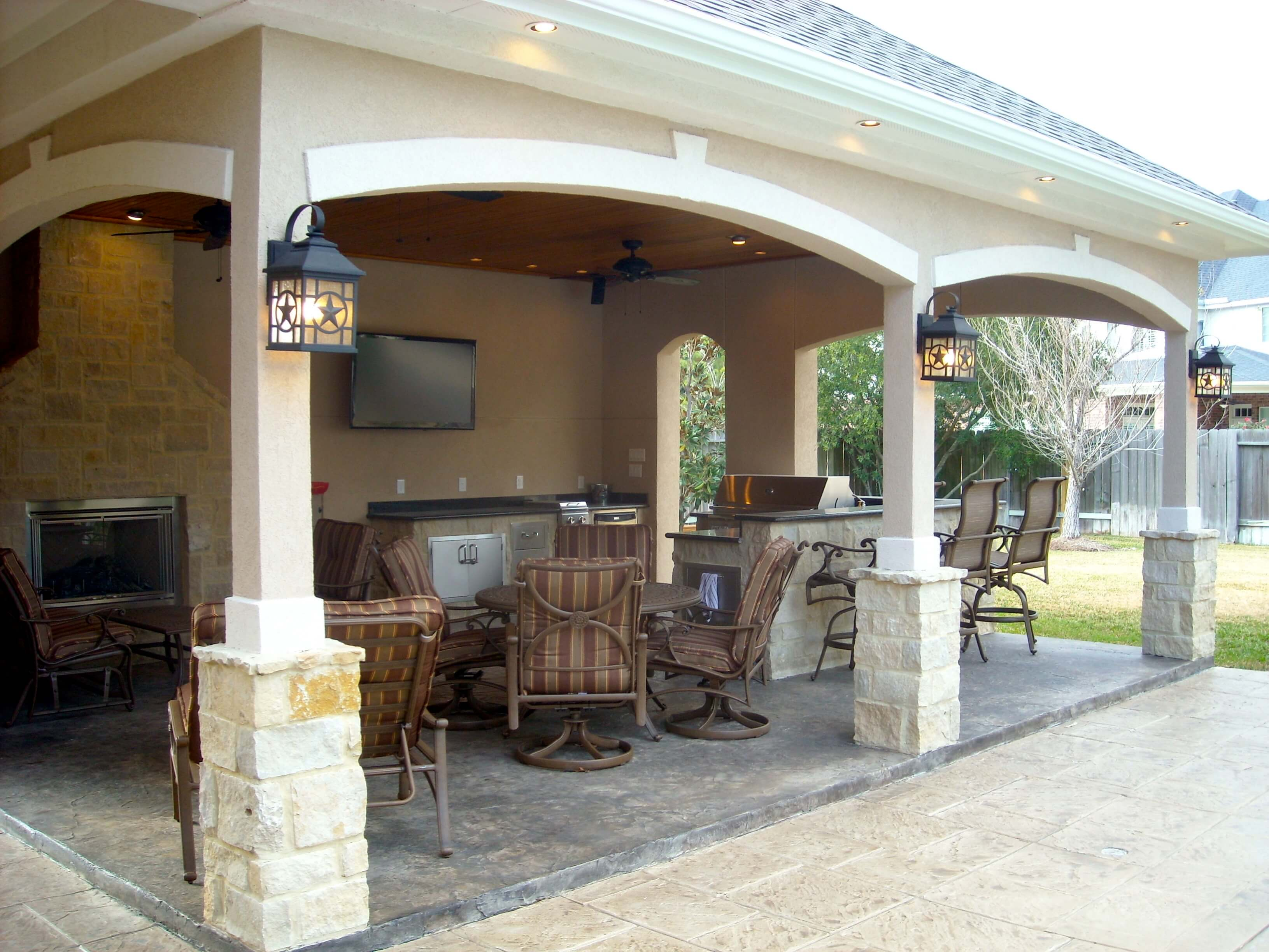 Pool House With Outdoor Kitchen & Fireplace In Cypress ... on Outdoor Kitchen By Pool id=70444