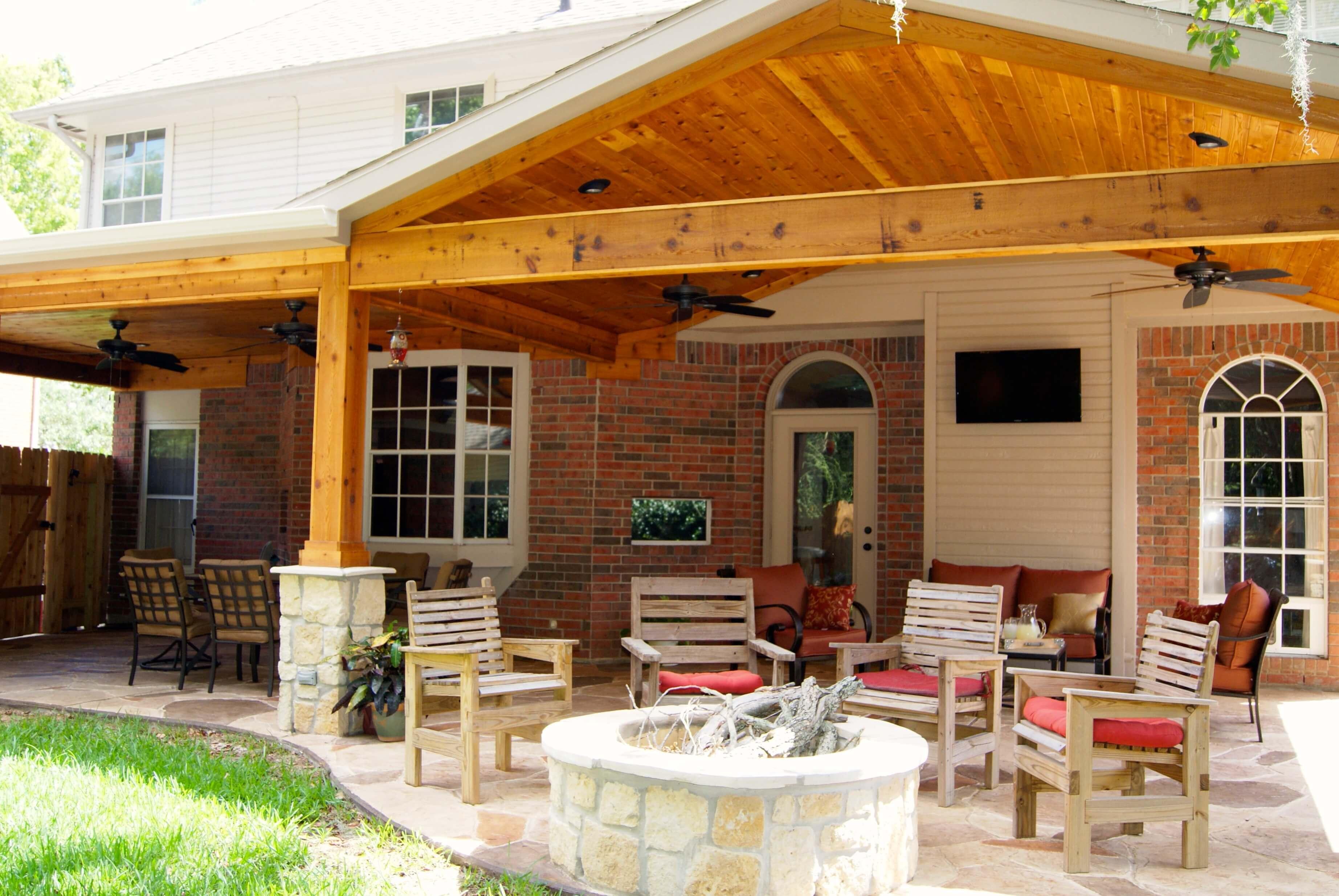 Patio Cover with Stone & Cedar - Texas Custom Patios on Backyard Patio Cover  id=93308