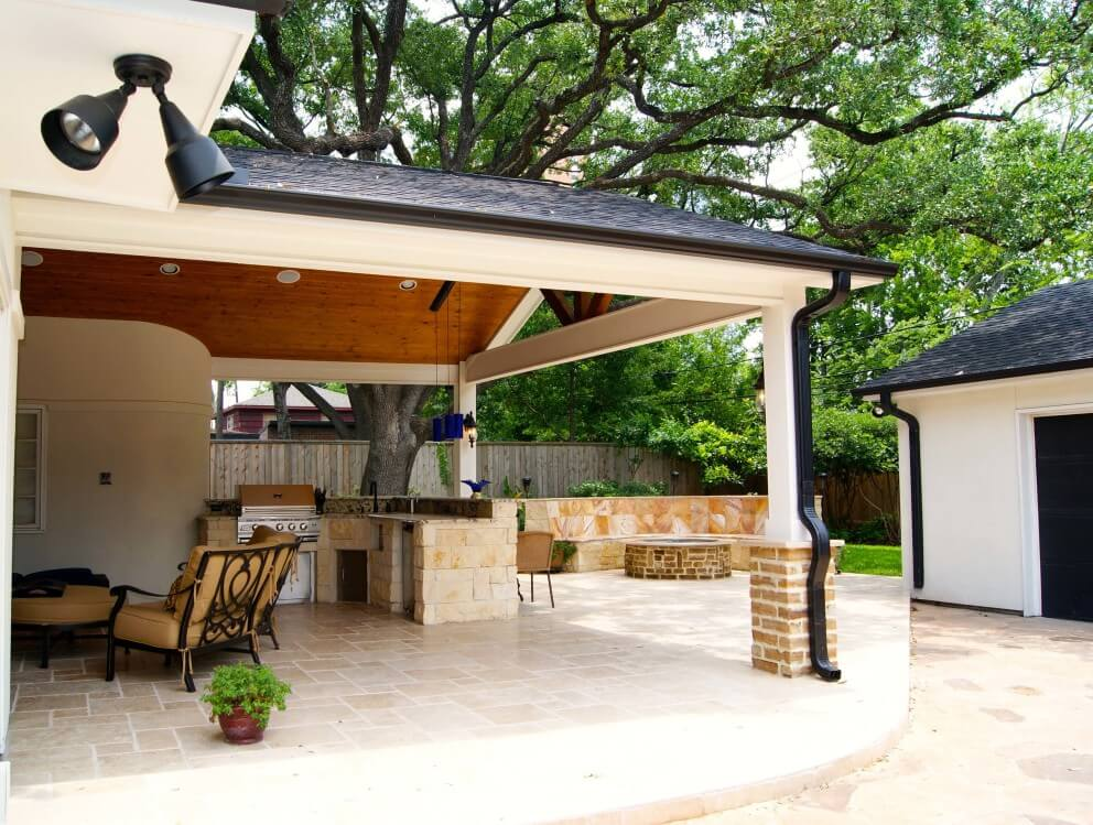 Contemporary Patio Cover, Kitchen and Firepit - Texas ... on Modern Back Patio id=34265
