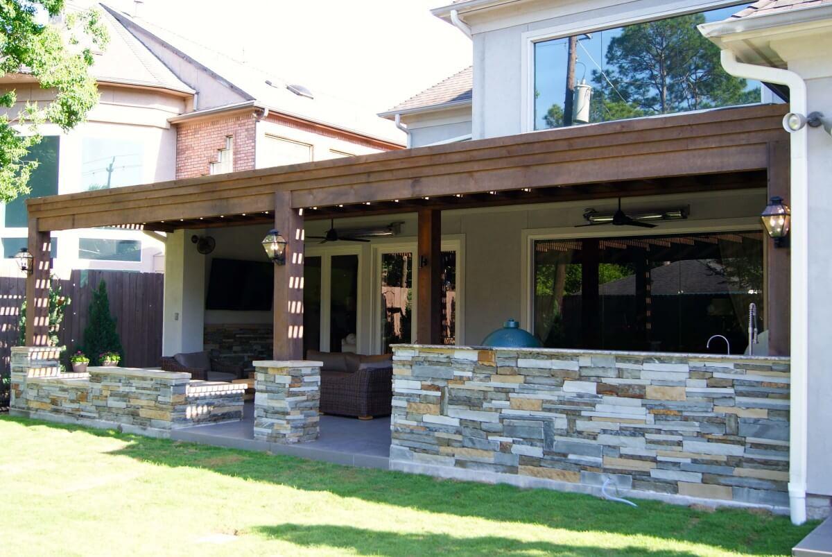 Bellaire Cedar Pergola Amp Outdoor Kitchen Texas Custom Patios