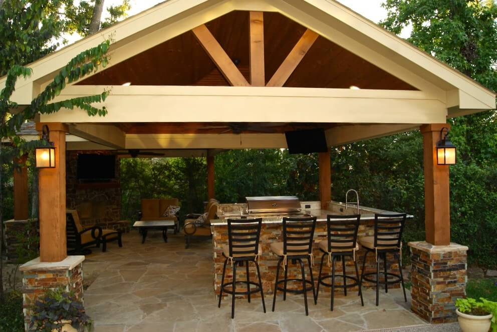 Freestanding Patio Cover With Kitchen & Fireplace In The ... on Backyard Patio Cover  id=27119