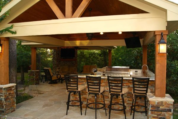 outdoor covered patio with fireplace and kitchen Freestanding Patio Cover With Kitchen & Fireplace In The