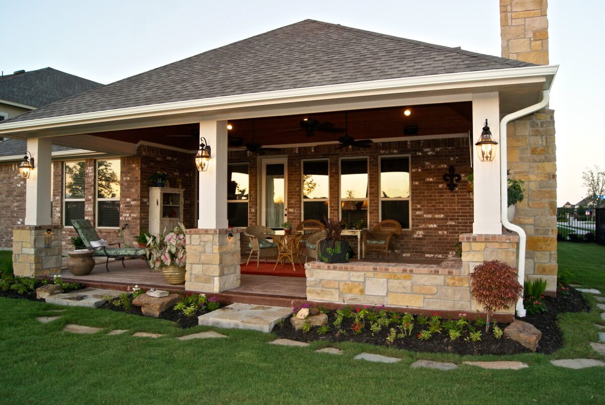 Patio Cover With Fireplace In Telfair - Texas Custom Patios on Extended Covered Patio Ideas id=98299