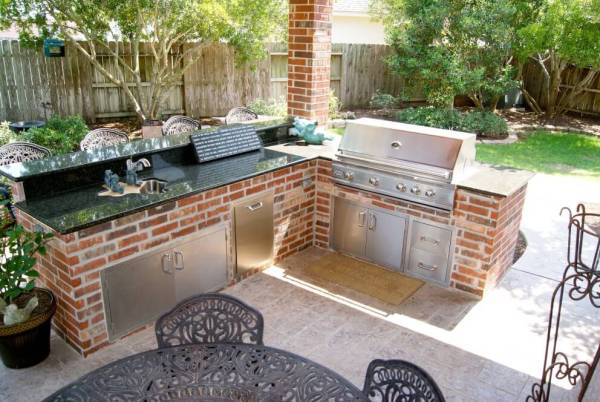 cover patio with outdoor kitchen Patio Cover and Outdoor Kitchen In Waterside Estates