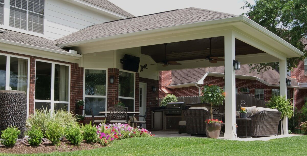 Patio Cover & Outdoor Kitchen In First Colony - Texas ... on Patio Cover Ideas Images id=68705
