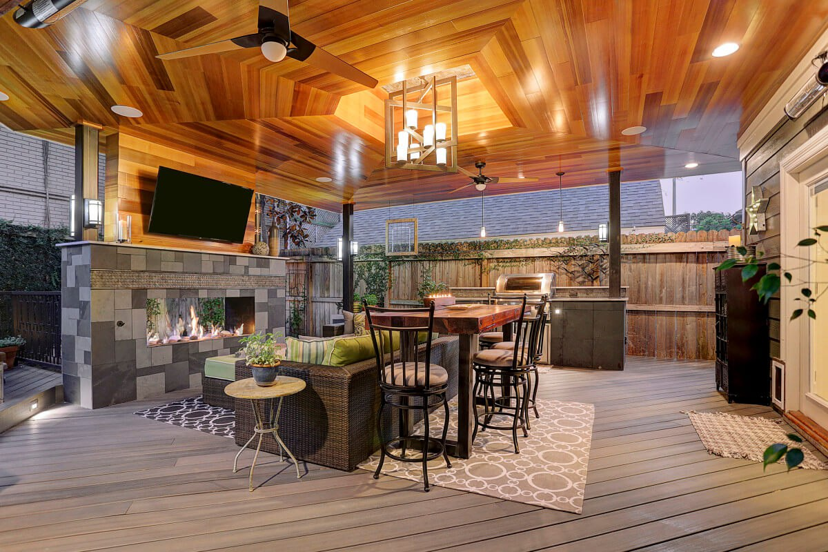 Contemporary Outdoor Living Room In Montrose - Texas ... on Modern Backyard Patio Ideas  id=56619