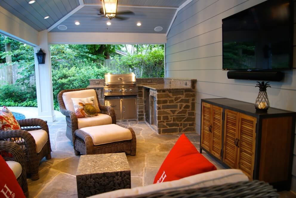 Patio Cover Built Off Garage & Outdoor Kitchen in Memorial ... on Outdoor Kitchen Patio  id=96174