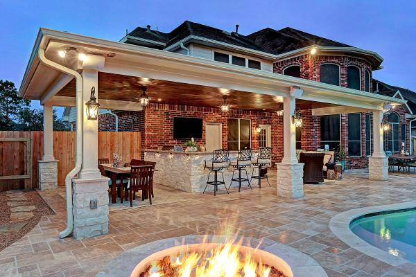 covered outdoor living patio Friendswood Outdoor Living Space - Texas Custom Patios