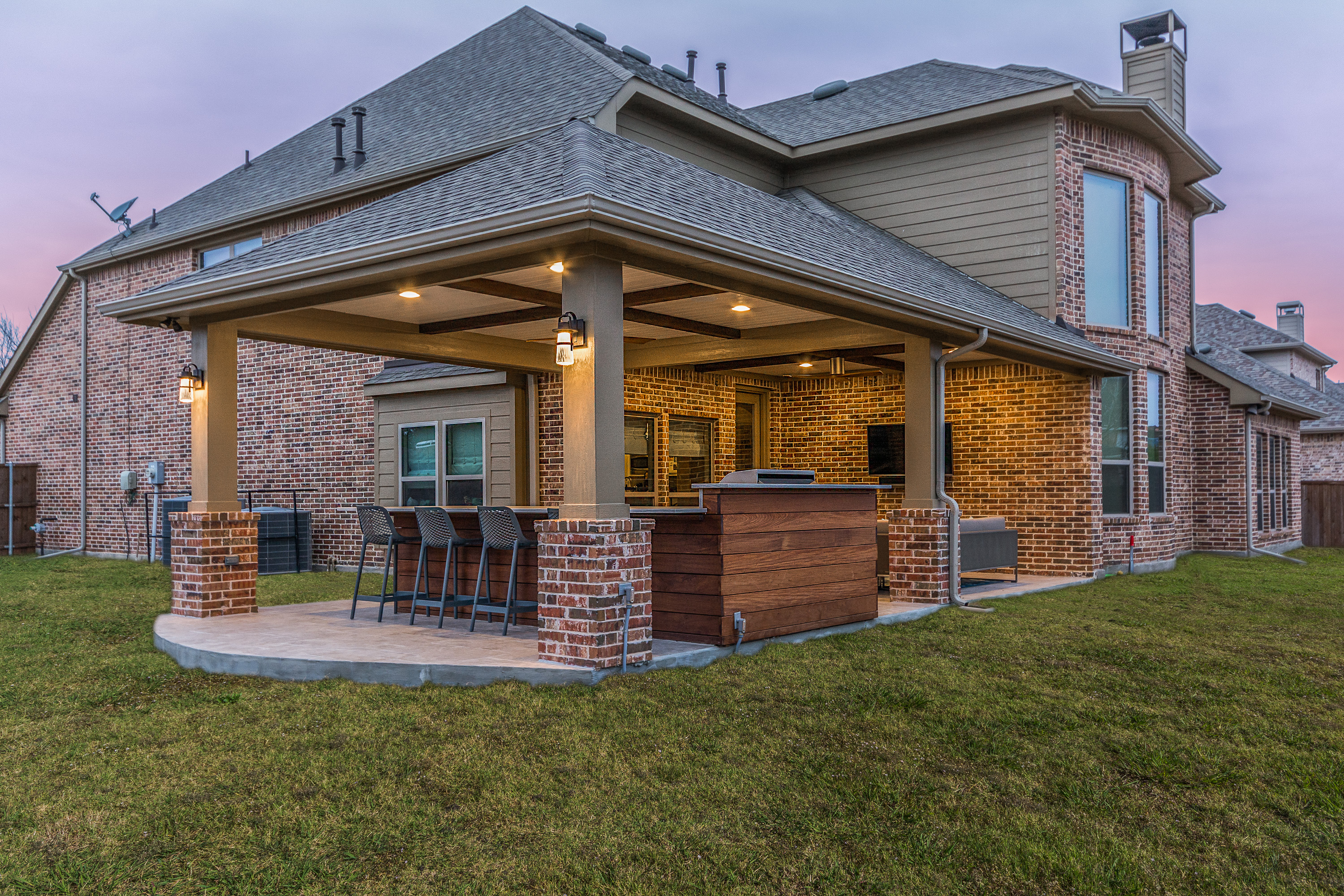 Patio Cover and Outdoor Kitchen in Coppell - Texas Custom ... on Covered Outdoor Kitchen With Fireplace id=42416