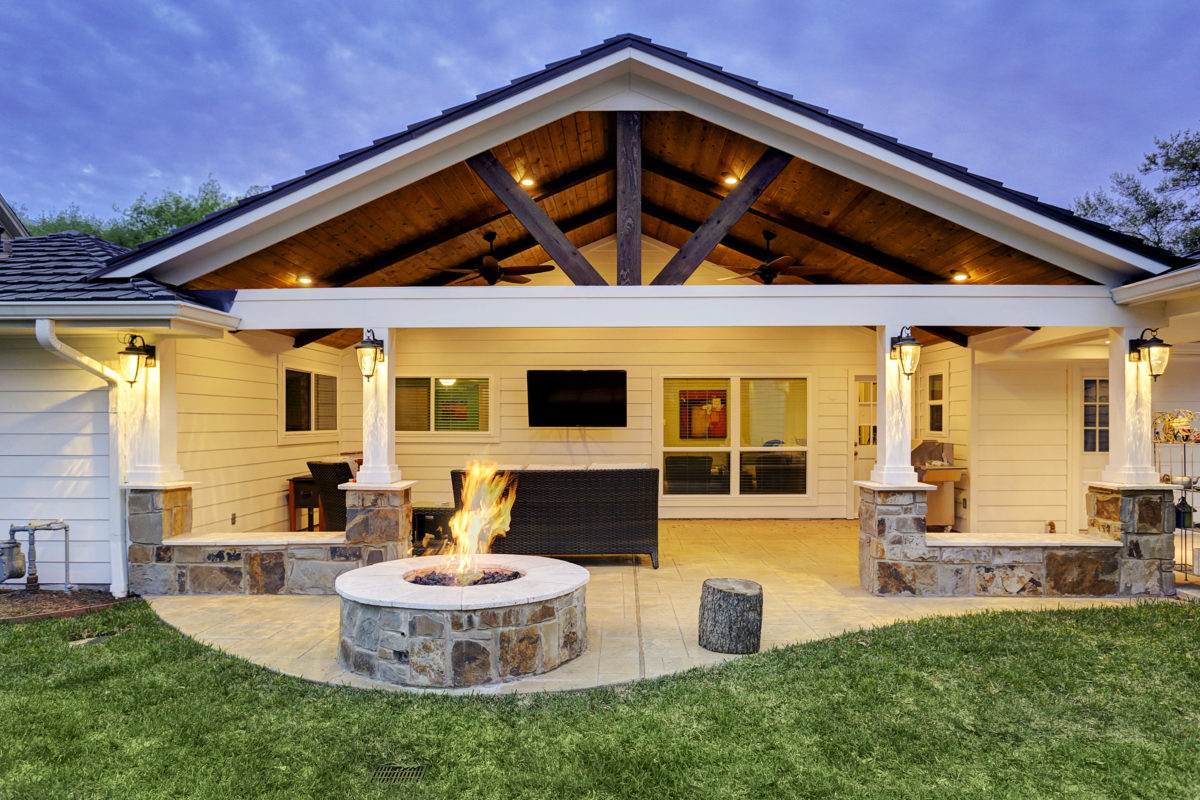 Patio Cover with Fire Pit Houston - Texas Custom Patios on Open Backyard Ideas id=35713