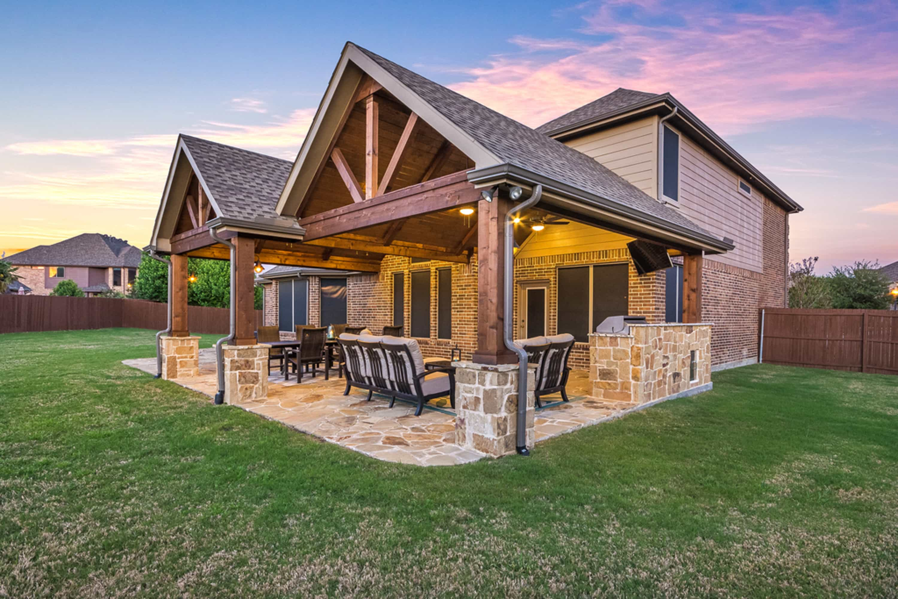 Patio Cover and Kitchen in Murphy - Texas Custom Patios on Add On Patio Ideas  id=39319