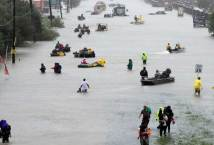 Rescue from Hurricane Harvey Flooding in the streets by the Texas People and the Cajun Navy