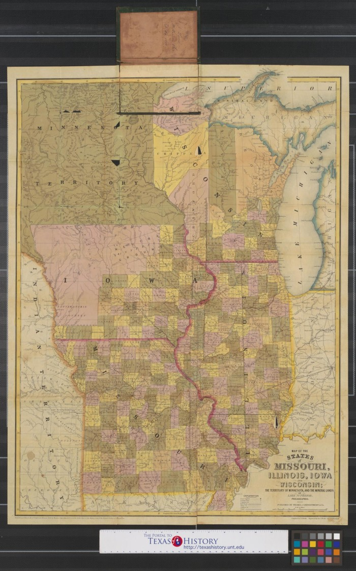 Map of the states of Missouri  Illinois  Iowa and Wisconsin  the     Map of the states of Missouri  Illinois  Iowa and Wisconsin  the territory  of Minnesota  and the mineral lands of Lake Superior