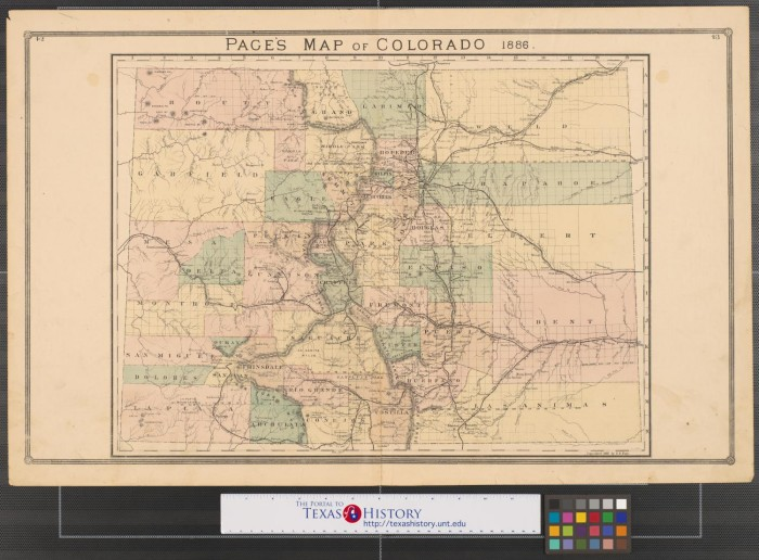 Page s map of Colorado  1886    The Portal to Texas History Primary view of object titled  Page s map of Colorado